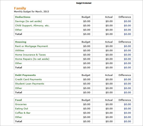 creating a personal budget worksheet pdf